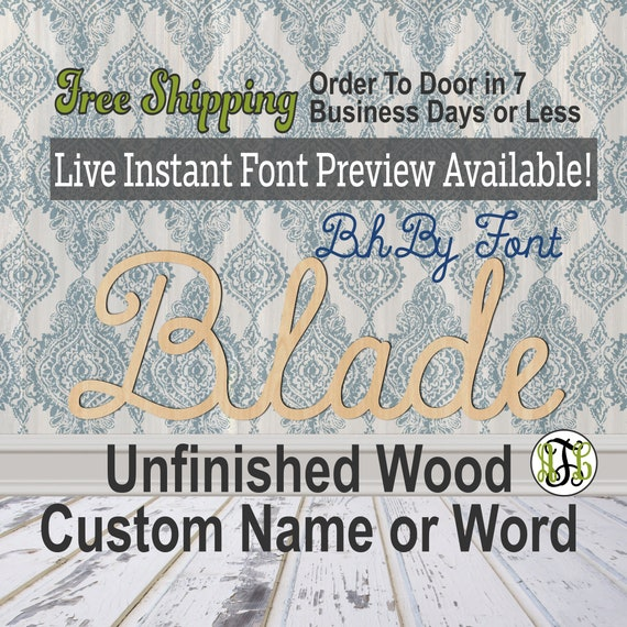 Custom Wood Name Sign, BhBy Font, Cursive, Connected, wood cut out, wood cutout, wooden, Nursery, Wedding, Birthday, word sign, Script
