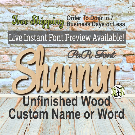Custom Wood Name Sign, PaR Font, Cursive, Connected, wood cut out, wood cutout, wooden sign, Nursery, Wedding, Birthday, word sign