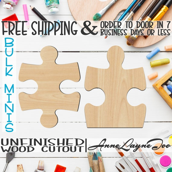 "Puzzle Piece Style 1 or 2 - 2"" to 6"" Minis, Small Wood Cutout, unfinished, wood cutout, wood craft, laser cut, wood cut out -40045S1-S2"