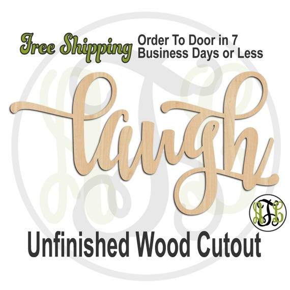 laugh 2 - 320314FrFt- Word Cutout, unfinished, wood cutout, wood craft, laser cut wood, wood cut out, Door Hanger, wood cut out, wooden sign