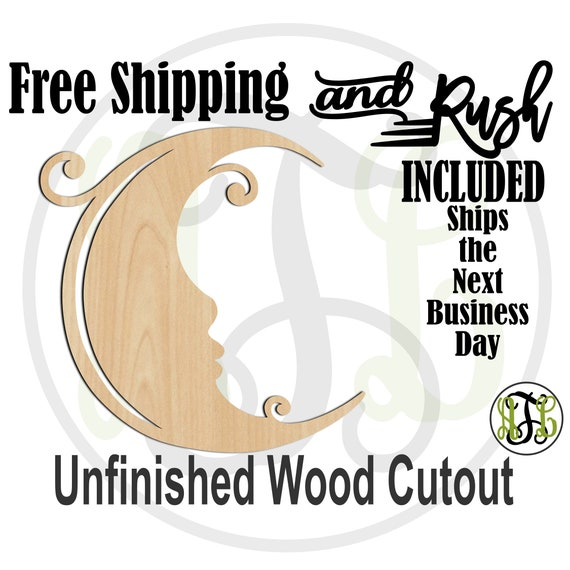 Curly Moon Wood Cutout, Baby Shower Cutout, Nursery Wall Cutout, unfinished, wood cut out, laser cut - 300184- RUSH PRODUCTION