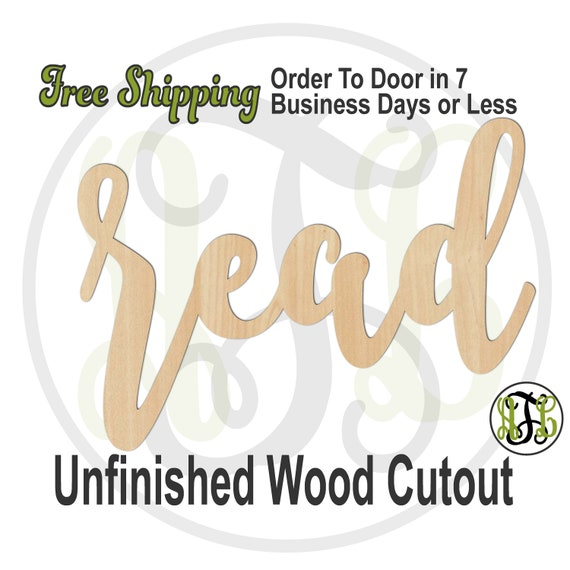 read - 320350FrFt- Word Cutout, unfinished, wood cutout, wood craft, laser cut wood, wood cut out, Door Hanger, wooden sign, wreath accent