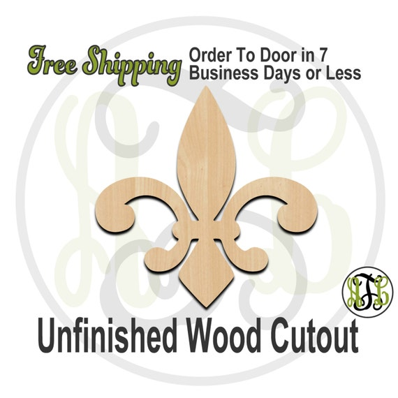 Fleur de Lis 1 - 300008- Cutout, unfinished, wood cutout, wood craft, laser cut shape, wood cut out, Door Hanger, wooden, ready to paint