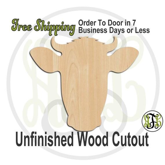 Cow Head Mascot- 60507- School Spirit Cutout, unfinished, wood cutout, wood craft, laser cut shape, wood cut out, Door Hanger, wooden