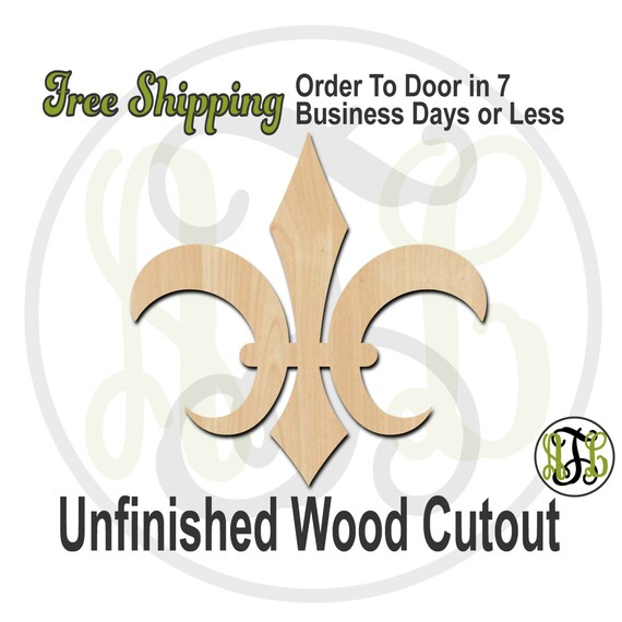 Fleur de Lis 17- No. 300036- Cutout, unfinished, wood cutout, wood craft, laser cut shape, wood cut out, Door Hanger, wooden, ready to paint
