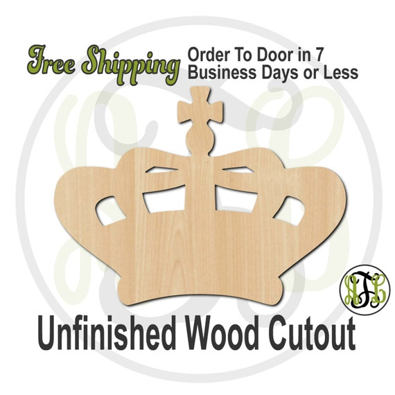 Crown 15 - 24415- Cutout, unfinished, wood cutout, wood craft, laser cut shape, wood cut out, Door Hanger, wooden, ready to paint