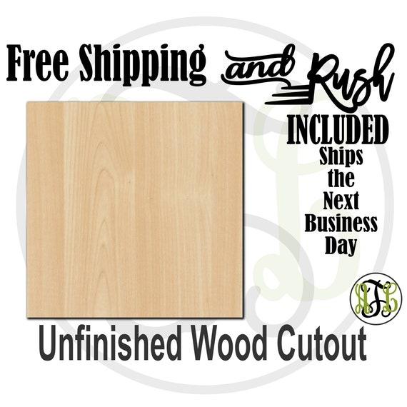 Plaque Square - 40016- Cutout, unfinished, wood cutout,  laser cut shape, DIY, Free Shipping - RUSH PRODUCTION