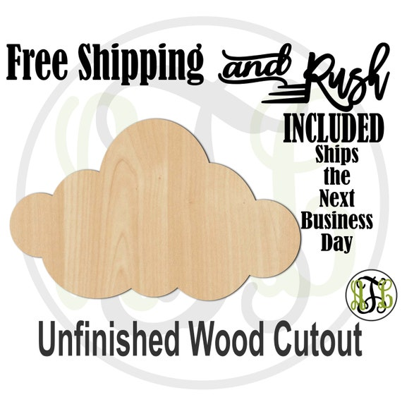 Cloud 4- 300127- Weather Cutout, unfinished, wood cutout,  laser wood cutout, Door Hanger, cloudy - RUSH PRODUCTION