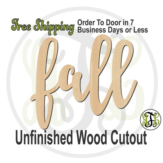 fall - 320317FrFt - Word Cutout, unfinished, wood cutout, wood craft, laser cut wood, wood cut out, Door Hanger, wooden sign, wreath accent