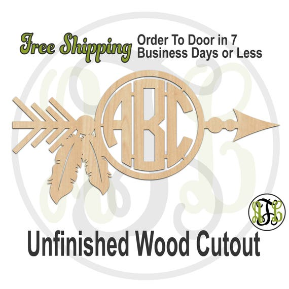 Arrow with Feathers Monogram - 990015M3- Personalized Cutout, 2 or 3 Letter,  unfinished, wood cutout, wood craft, laser cut, wood cut out