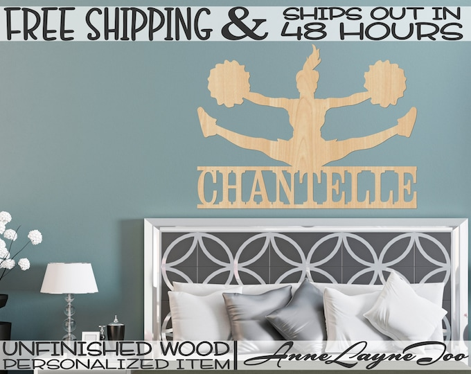 Cheerleader Name Plate Wood Cutout, Toe Touch Cheer, Female Cheerleader, unfinished, wood cut out, laser cut, Ships in 48 HOURS -990080