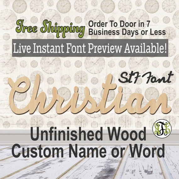 Custom Wood Name Sign, StF Font, Cursive, Connected, wood cut out, wood cutout, wooden sign, Nursery, Wedding, Birthday, word sign