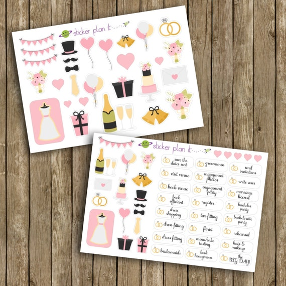 Erin Condren Wedding Planner.Wedding Planner Stickers Two Sheet Set Of 70 Stickers Perfect For Erin Condren Life Planner Plum Paper Planner And More