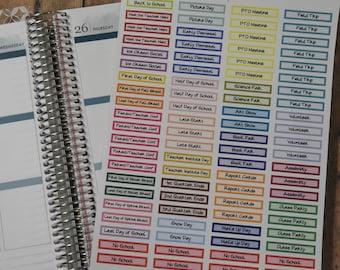 SCHOOL YEAR header stickers for Erin Condren Life Planners or Plum Paper Planners