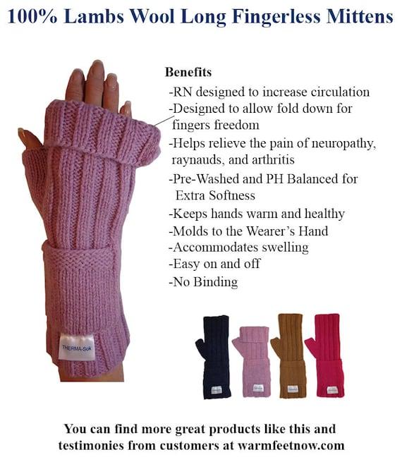 RN Design Fingerless Mittens 100/% Soft Lambs Wool Raynauds Neuropathy Arthritis
