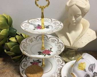Vintage 3-Tier Mini Cake Stand/Jewellery Stand, Gold, Pink Roses
