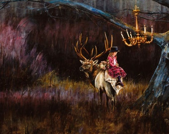 Christmas Card, Elk, Holiday Card, Greeted Christmas Card, Tea Party, Wildlife Christmas Card