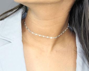 Choker Sale Sterling Silver Shimmer Chain Choker Dainty Silver Choker Necklace-Sterling Silver Shimmer Choker Necklace-Sequin Choker-Gift
