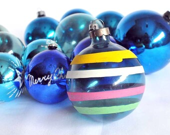 vintage 12 lot blue variety pack glass christmas tree baubles christmas tree glass balls xmas tree ornaments - Blue Christmas Balls