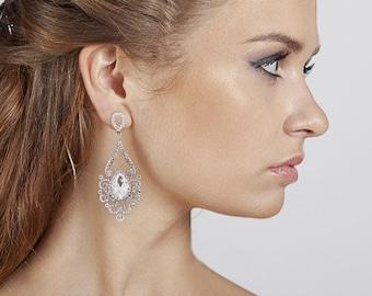 Crystal earrings Chandelier earrings Dangle earrings Wedding earrings Silver earrings Wedding accessories Birthday gifts ideas for women