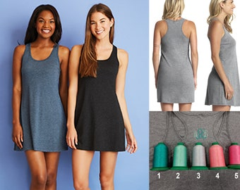 FREE SHIPPING Super Soft Racerback Tank Dress with Monogram *3 colors
