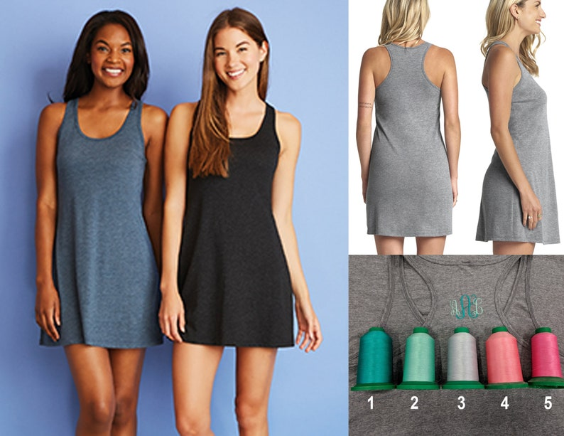 FREE SHIPPING Super Soft Racerback Tank Dress with Monogram 3 image 0