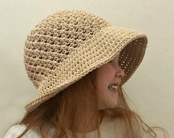 Crossed Double Sun Hat (Infant - Child) Crochet Pattern *PDF FILE ONLY* Instant Download