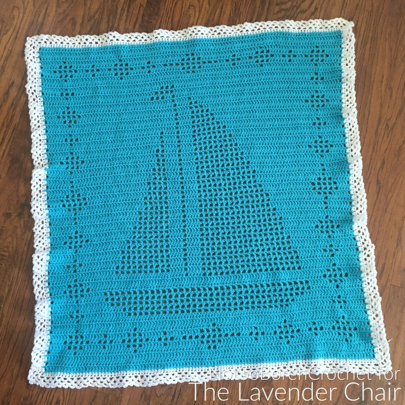 Filet Sailboat Blanket Crochet Pattern PDF FILE ONLY The image 0