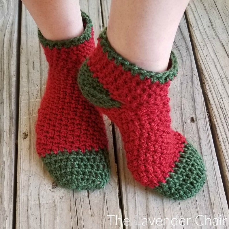Holly Jolly Christmas Socks Crochet Pattern PDF FILE ONLY image 0