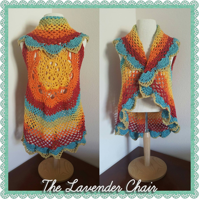 Starburst Mandala Circular Vest Crochet Pattern Pdf File Etsy