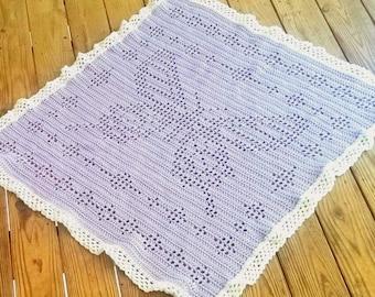 Filet Butterfly Blanket Crochet Pattern *PDF FILE ONLY* Instant Download