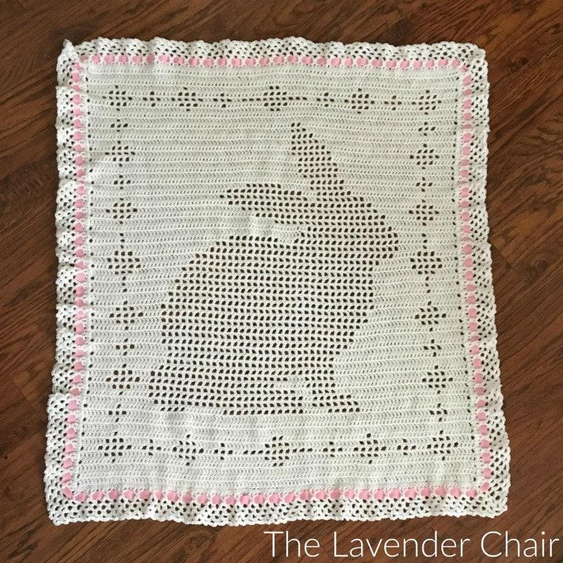 Filet Bunny Blanket Crochet Pattern PDF FILE DOWNLOAD image 0