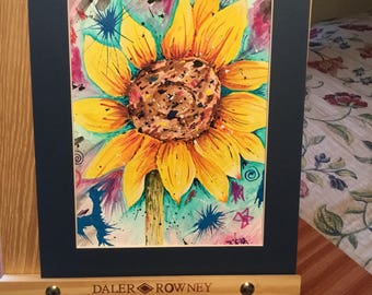 Original contemporary picture painting of a Sunflower.  Abstract impressionism style art