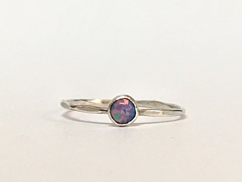 Stacking Rings Sterling Silver 14K Gold Rings For Women Opal Rings For Women Stack Ring Opal Ring October Birthstone Ring Thin Opal Ring