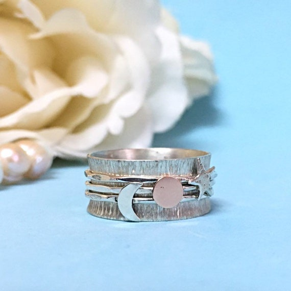 Spinner Ring Sterling Silver Wide Band Moon And Star Anxiety Jewellery,