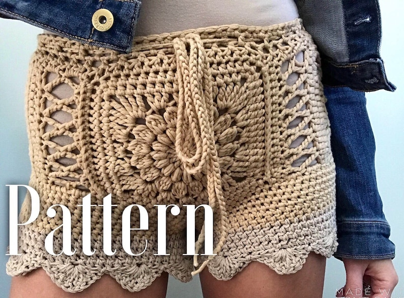 High Waisted Shorts Pattern Crochet Shorts Swimsuit Cover Etsy