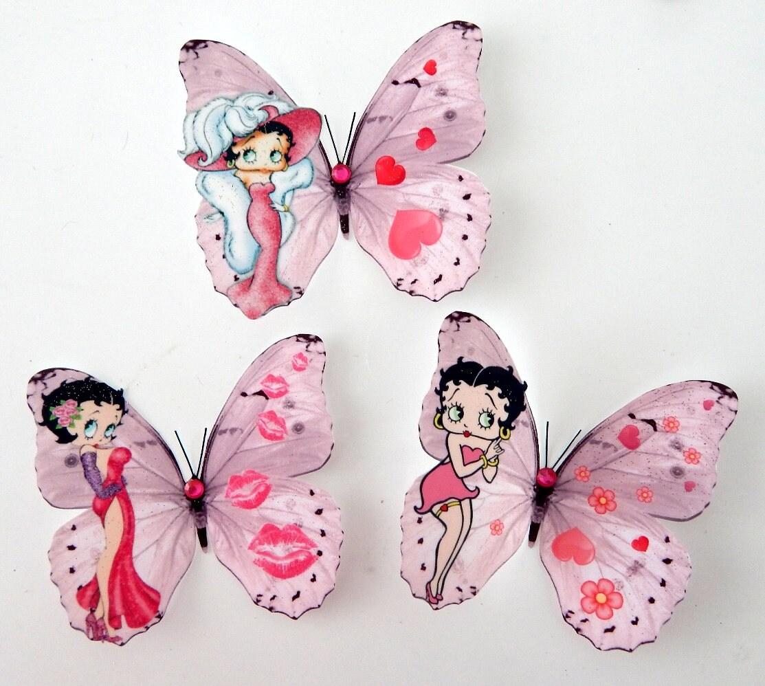 Betty Boop 3D Wall Sticker Butterflies, Betty Boop Bedroom ...