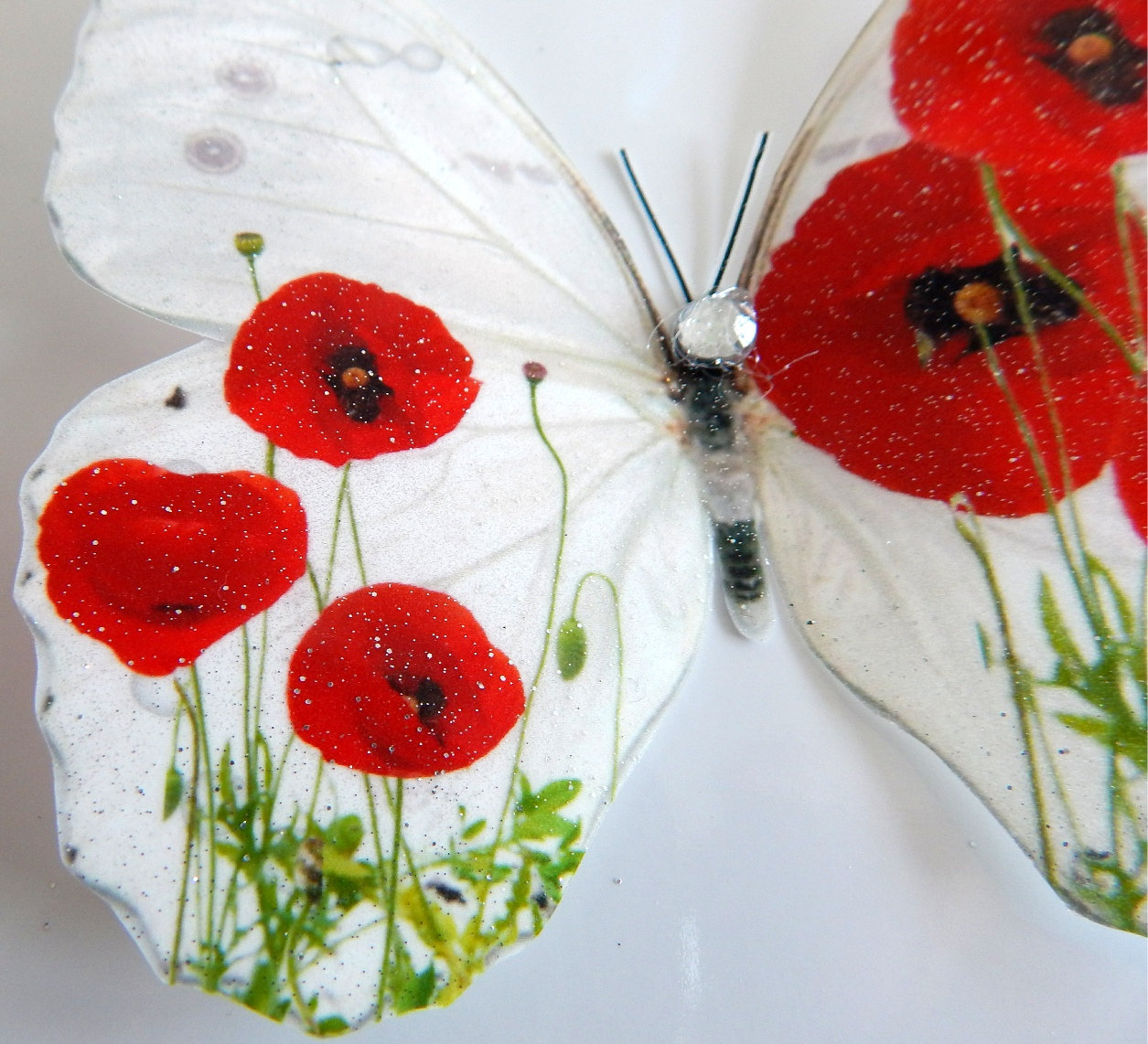 Red Poppy Wall Decor3d Butterflies Poppies Home Accessories Bedroom