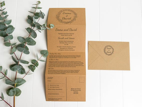tri fold wedding invitations with twine rustic wedding etsy