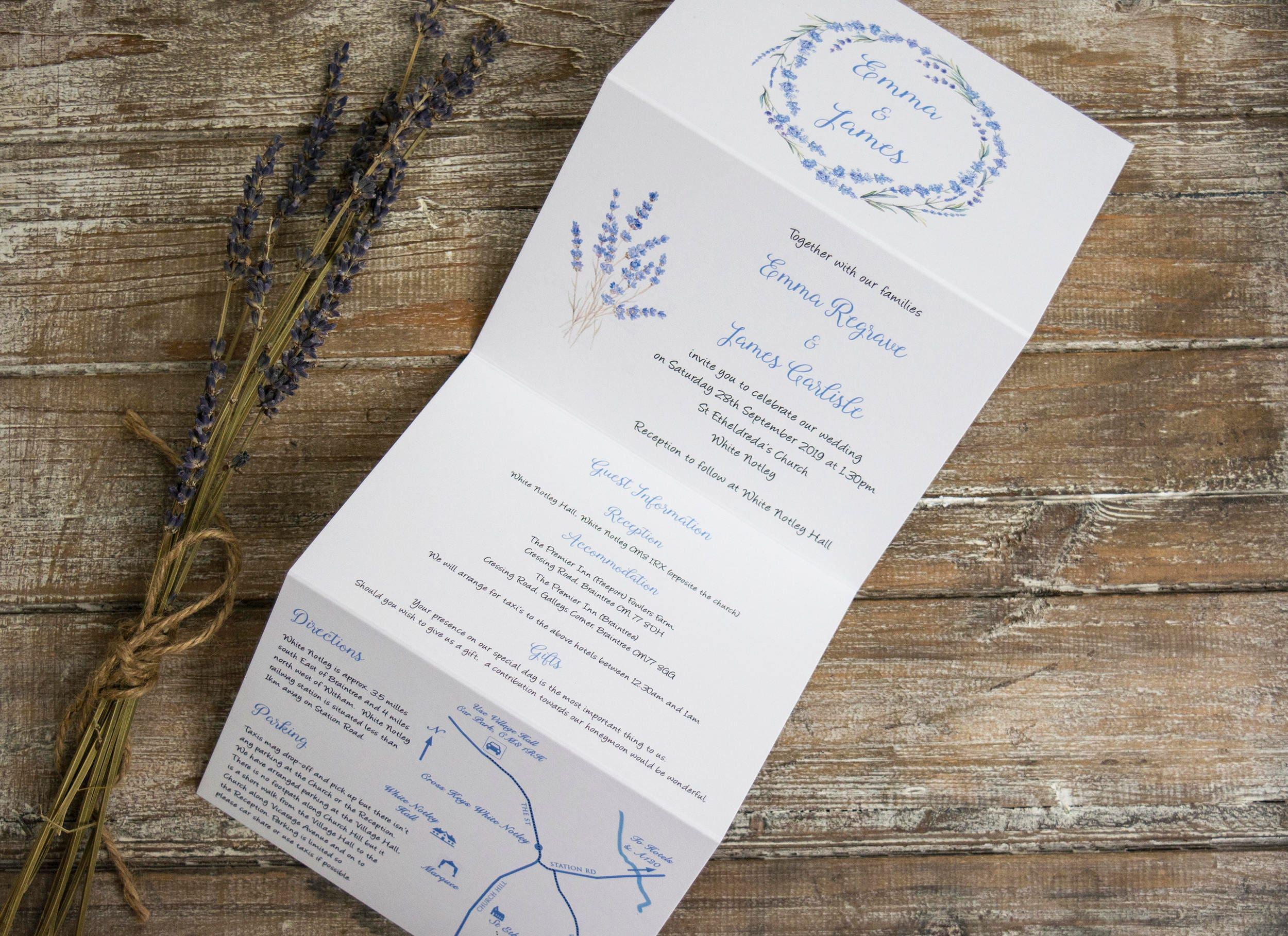 Lavender wedding invitations/ twine & map /Lavender wedding