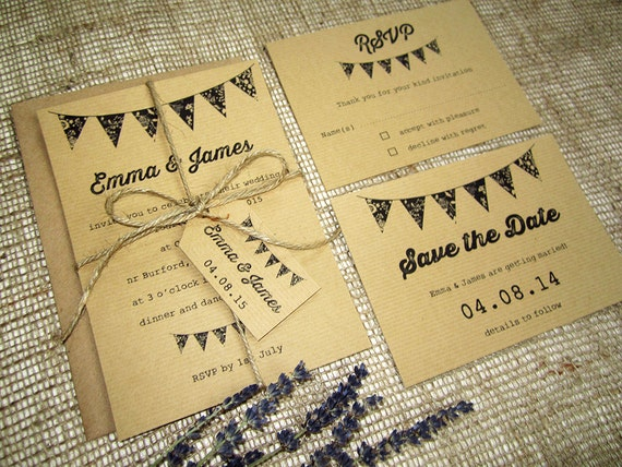 Bunting Wedding Invite: Rustic Bunting Wedding Invitation With Twine And Tag