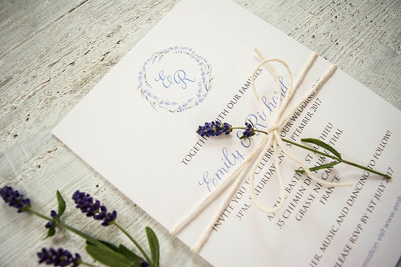 Lavender wedding invitations with twine /Lavender wedding image 0