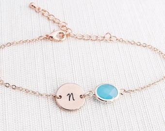 Rose Gold initial & Blue Opal Bracelet, Rose Gold Bracelet, Personalised Disc Bracelet, Initial Bracelet, Blue Opal Bracelet