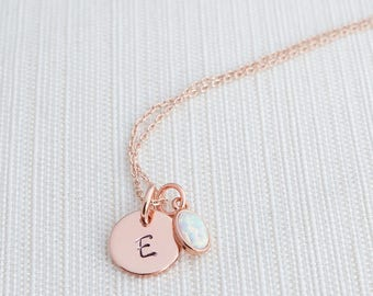 Rose Gold Initial and Opal Necklace , Disc Necklace, Hand Stamped on Disc, Personalised Jewellery, Rose Gold Plated Necklace, gift idea