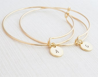 Gold Bangle Bracelet, Initial Bracelet, Stacking Bracelet, Monogram Bracelet, Gift Idea