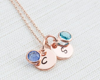 Rose Gold Birthstone Necklace, Initial Necklace, Hand Stamped on Disc, Personalised Jewellery, Rose Gold Plated Necklace