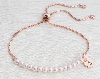 Rose Gold and Pink Pearl initial bracelet, Pearl bracelet, Initial bracelet, bridesmaid gift, slider bracelet