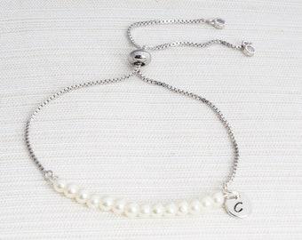 Personalised Ivory Pearl initial bracelet, Pearl bracelet, Initial bracelet, bridesmaid gift, slider bracelet