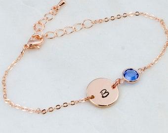 Rose Gold Birthstone & Initial Bracelet,Birthstone bracelet, Birthstone Jewellery, Personalised Disc Bracelet, Initial Bracelet
