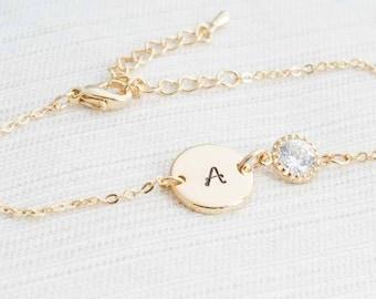Gold initial & Cubic Zirconia Bracelet , Gold Bracelet, Bridesmaid Bracelet , Initial Bracelet, Bridesmaid gift, Dainty bracelet